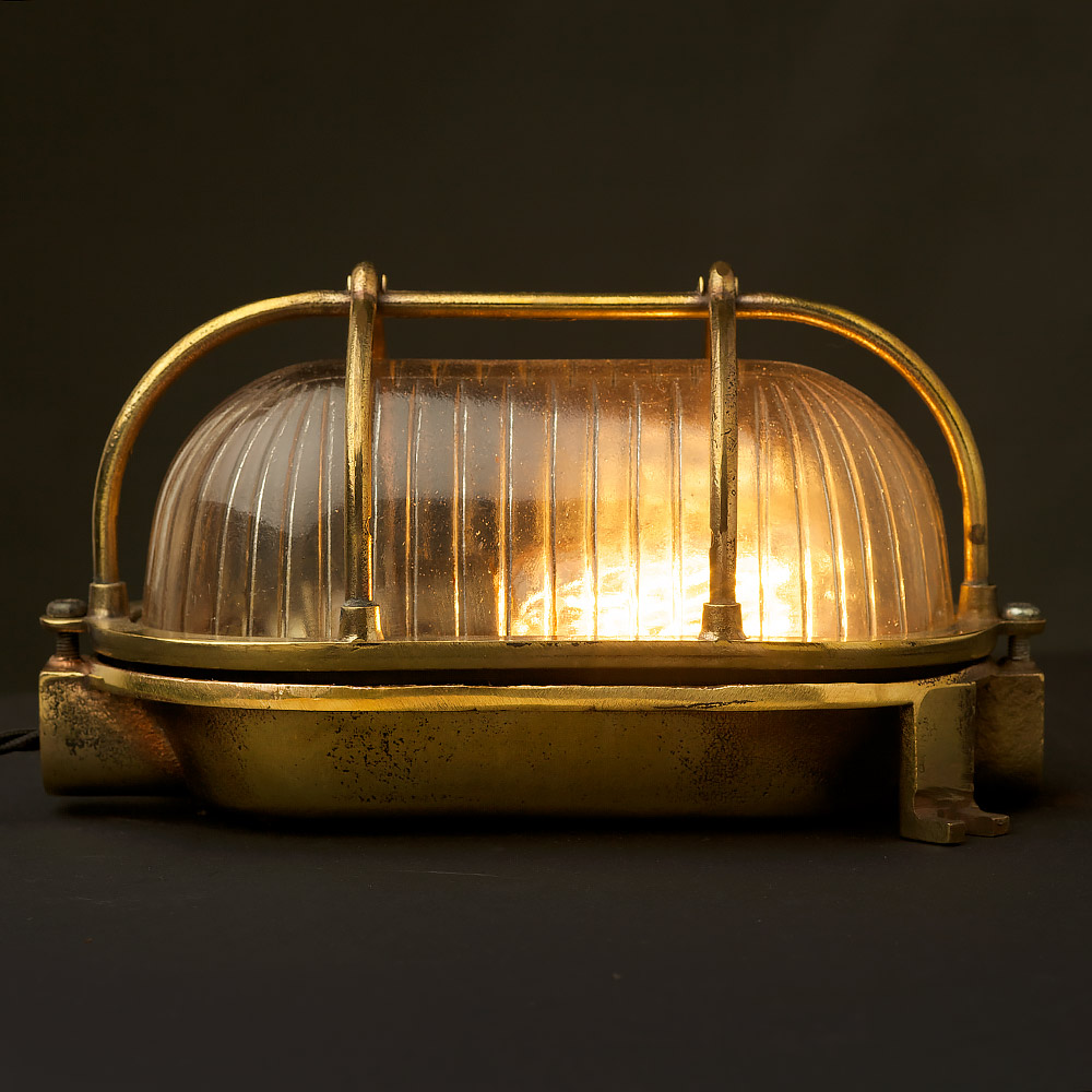 Brass Bulkhead Wall Lights : Small Brass Ships Oval Caged Bulkhead Light