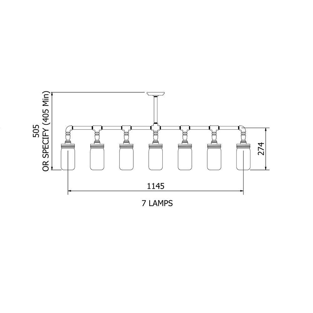 Vintage Galvanised Plumbing Pipe Widemouth Jar Chandelier Electrical Wiring Diagram