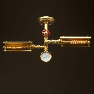 New Brass Twin Cage Tube Ceiling Light