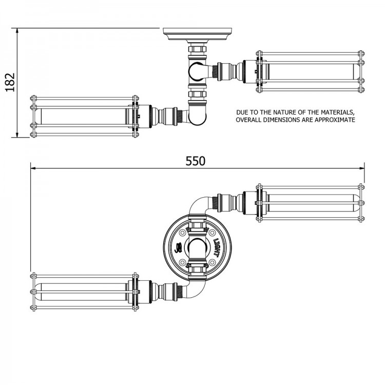 Industrial Galvanised Twin Cage Tube Ceiling Light