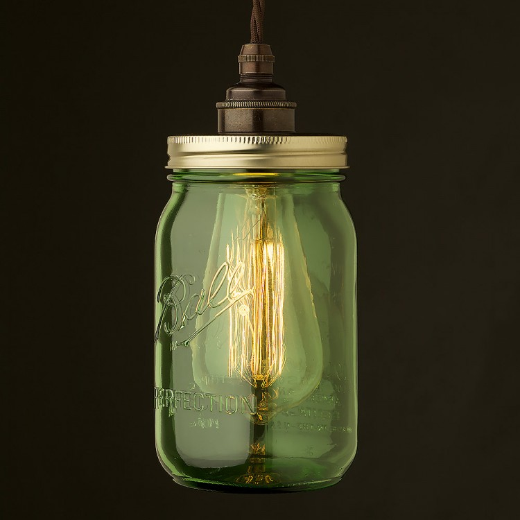 Widemouth Green Preserving Jar E27 pendant