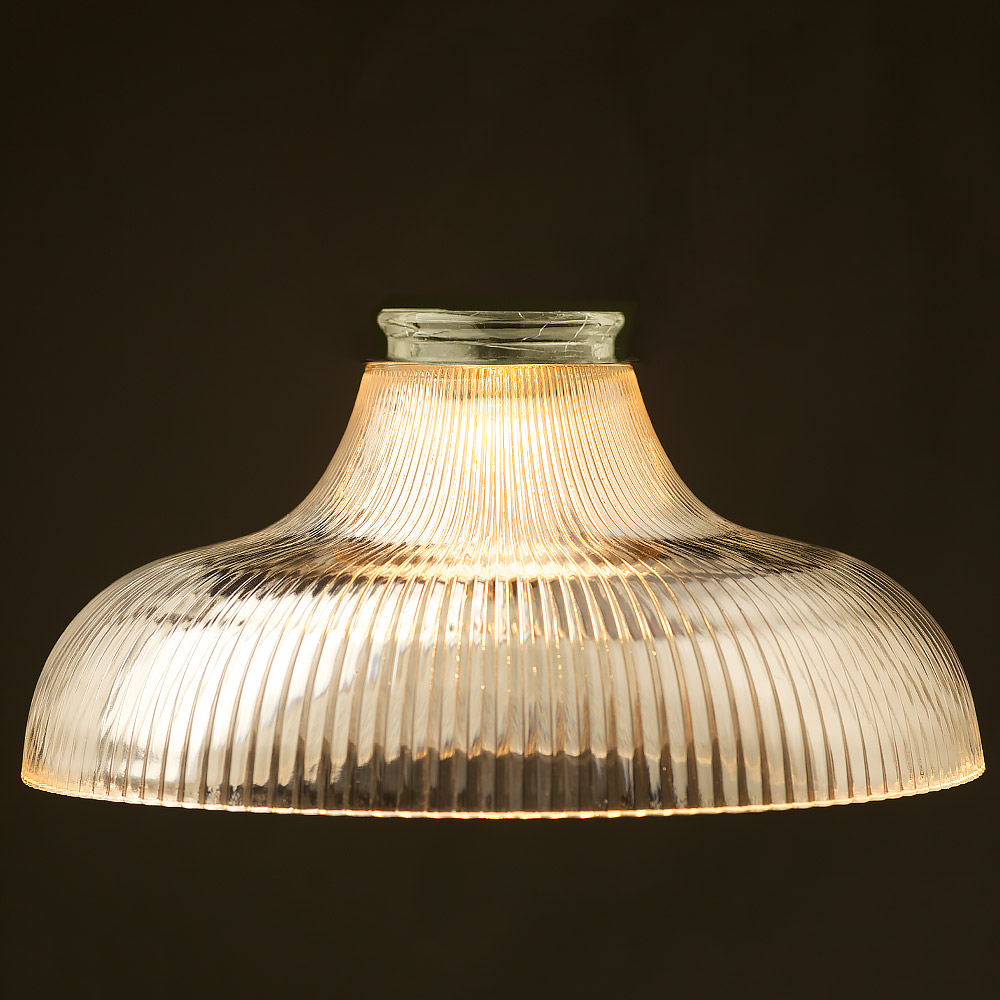 Large Holophane Glass Dish Light Shade