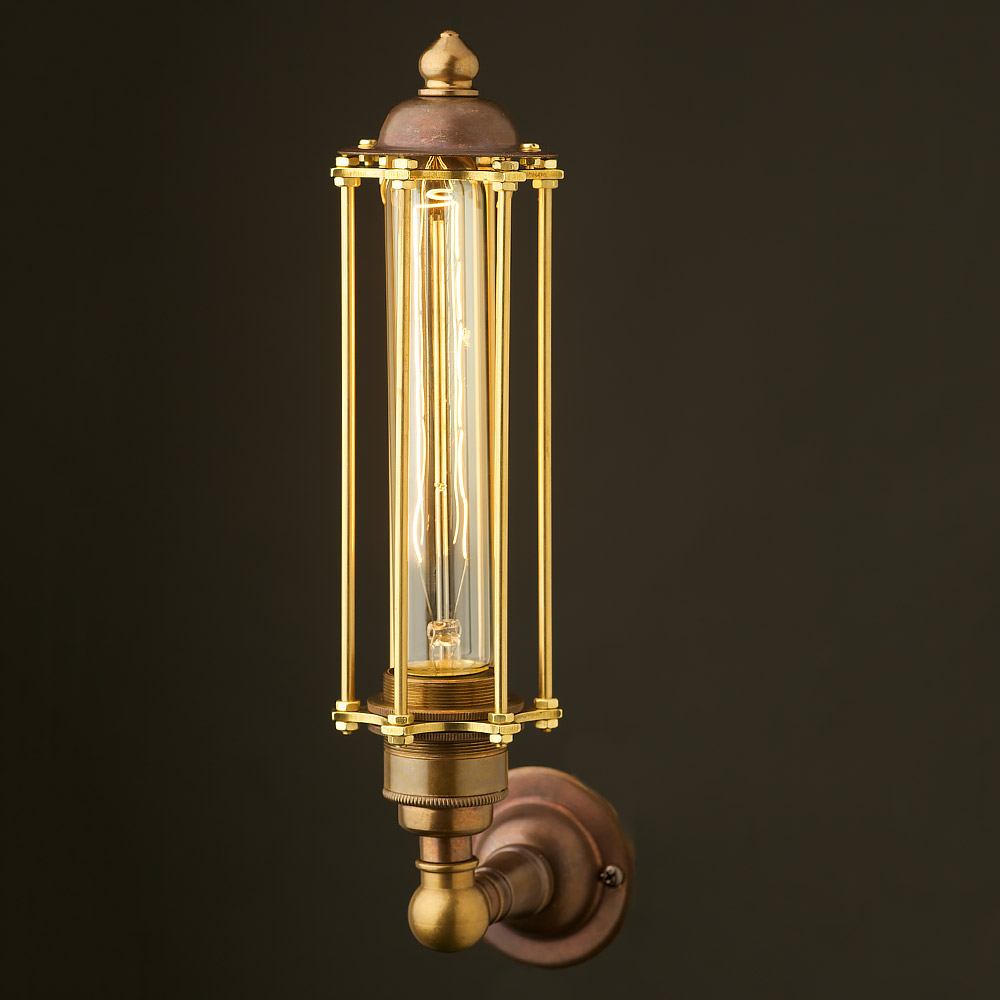 Picture Wall Lights Brass : Brass Medium Bulb Cage Upright Wall Lamp