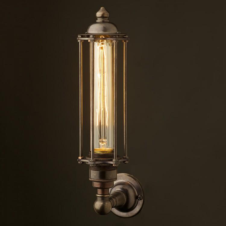 Bronze Medium Bulb Cage Upright Wall Lamp