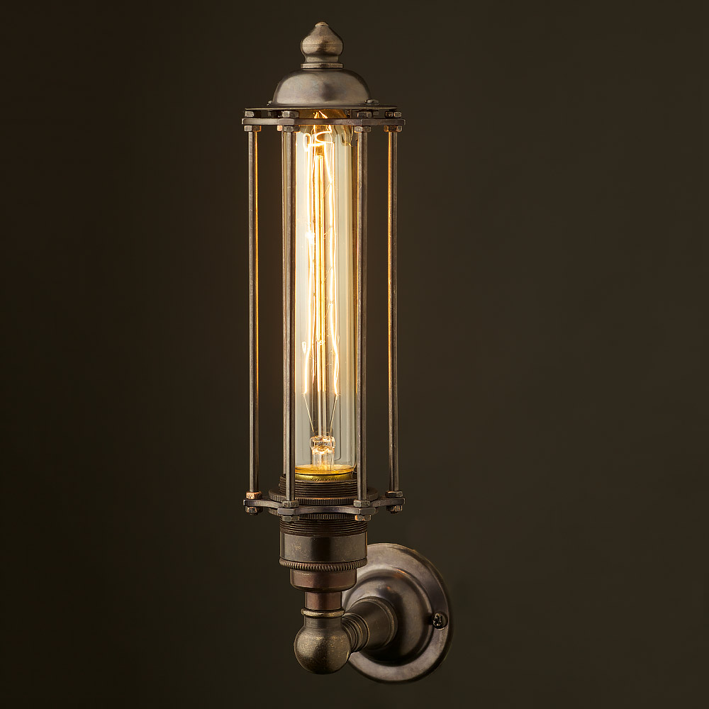 Bronze Medium Bulb Cage Upright Wall Lamp Edison Light
