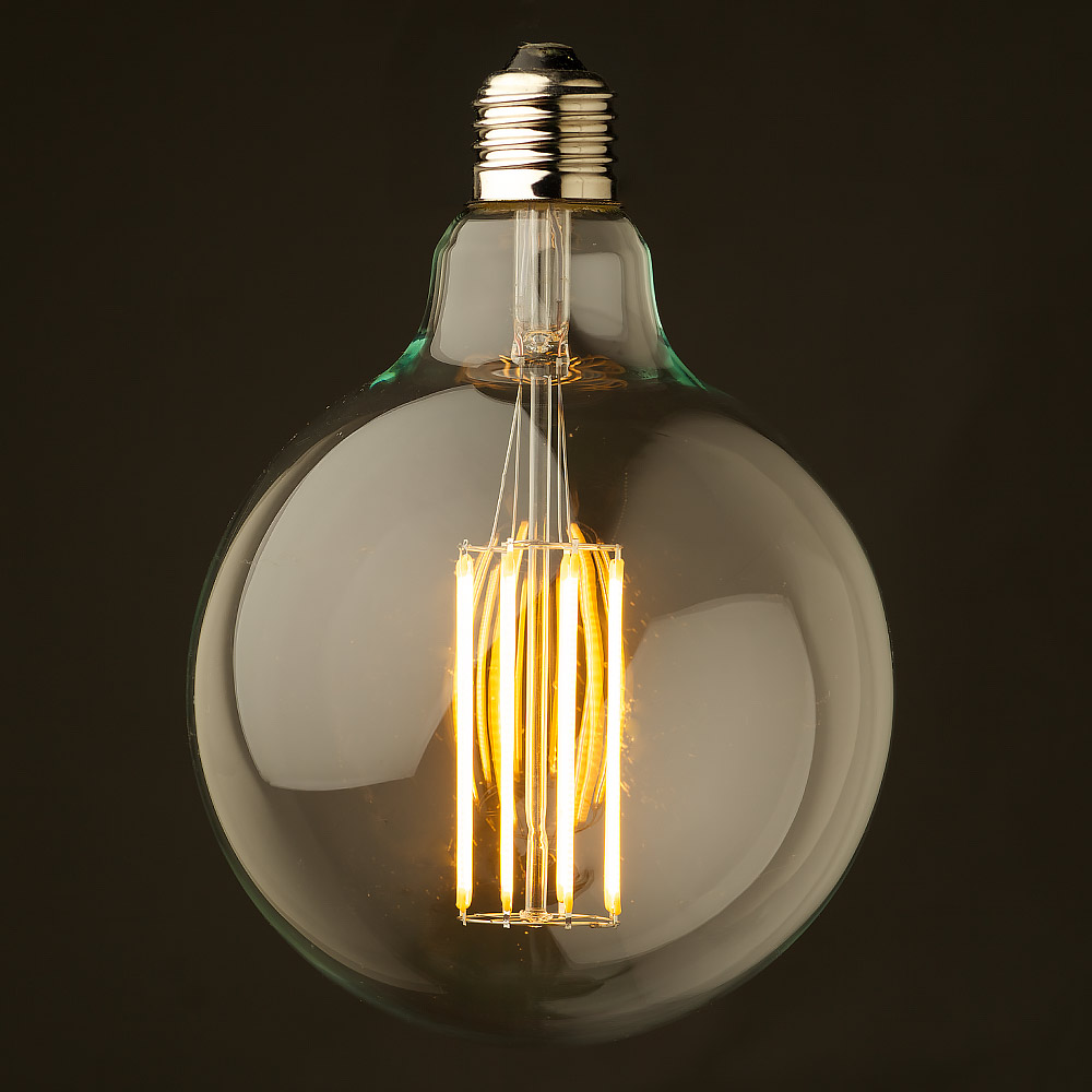 8 watt dimmable lantern filament led e27 clear 125mm Light bulb lamps