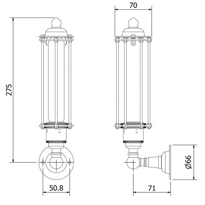Nickel Medium Bulb Cage Upright Wall Lamp