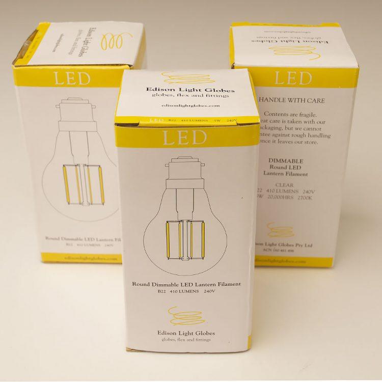 5 Watt Dimmable Lantern Filament LED B22 Clear GLS