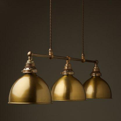 Antique Brass 3 Lamp Billiard table light antiqued brass dome pendant