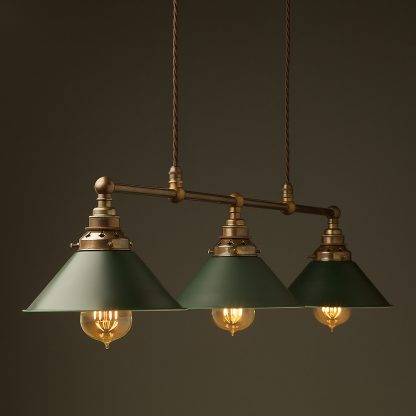 Antique Brass 3 Lamp Billiard table light antiqued green shade pendant