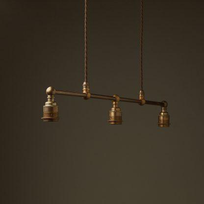 Antique Brass 3 Lamp Billiard table light bare bulb pendant