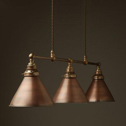 Antique Brass 3 Lamp Billiard table light bronze cone pendant