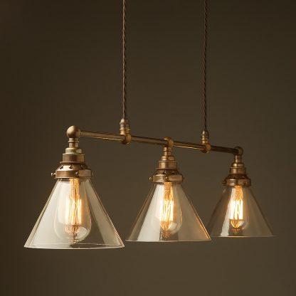 Antique Brass 3 Lamp Billiard table light clear glass cone pendant