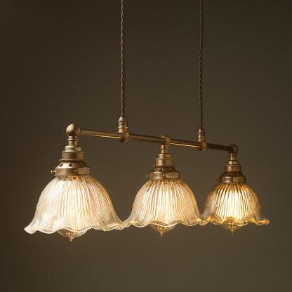 Antique Brass 3 Lamp Billiard table light fluted holophane dome pendant