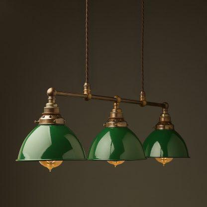 Antique Brass 3 Lamp Billiard table light green dome pendant