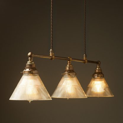 Antique Brass 3 Lamp Billiard table light holophane cone pendant