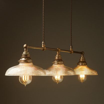 Antique Brass 3 Lamp Billiard table light holophane dish pendant