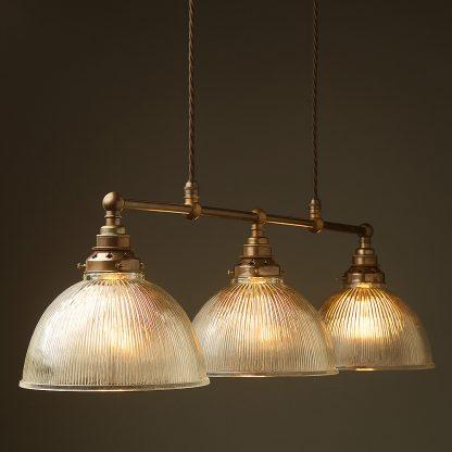 Antique Brass 3 Lamp Billiard table light holophane dome pendant