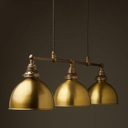 Antique Brass 3 Lamp Billiard table light brushed brass dome pendant