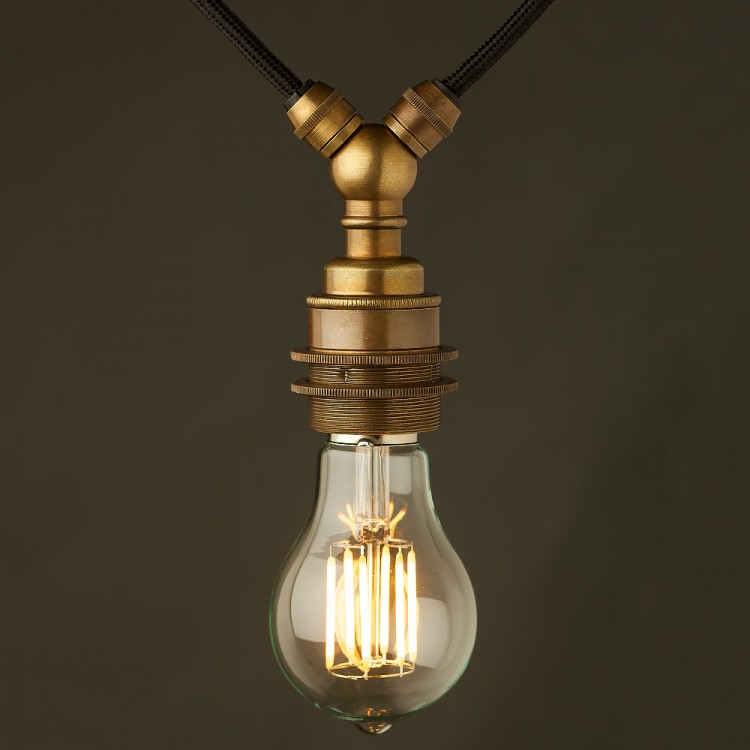 Antiqued brass E27 festoon lampholder