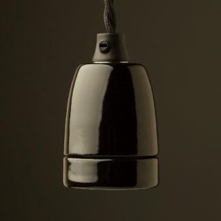 Black Fine Porcelain E27 pendant lamp holder