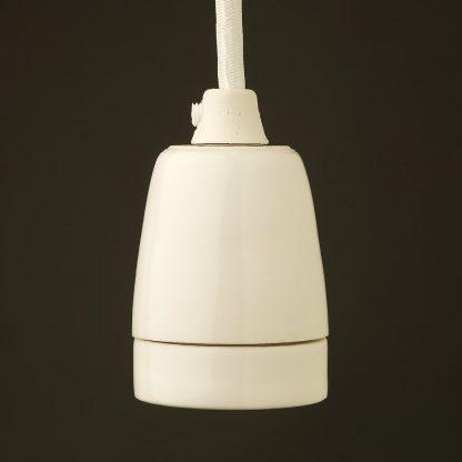 White Fine Porcelain E27 pendant lamp holder
