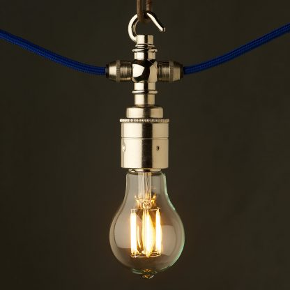 Nickel hook E27 festoon lampholder