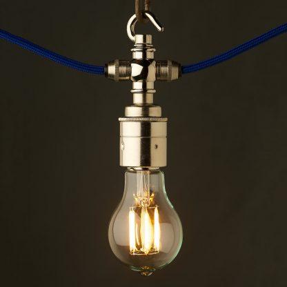 Nickel hook E27 festoon lamp holder LED GLS