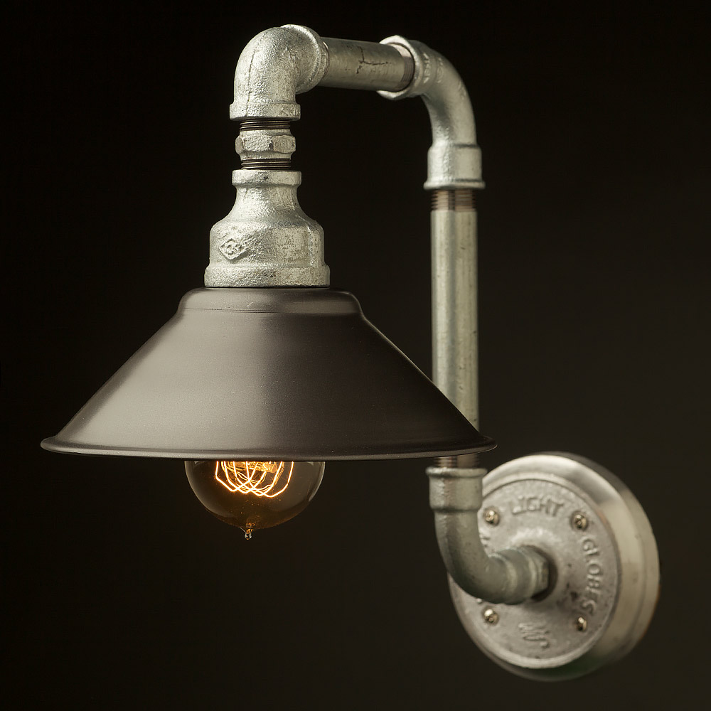 Plumbing pipe wall shade lamp for Black pipe light socket