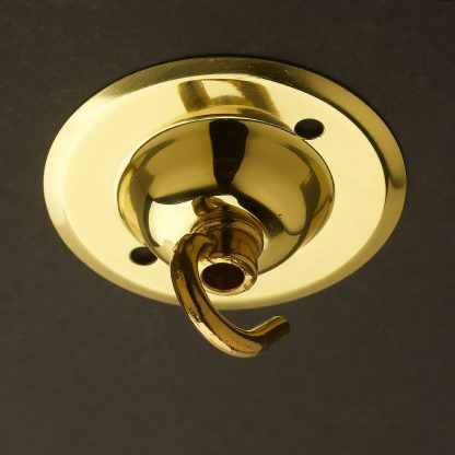 Polished Brass Chain hook ceiling rose 75mm