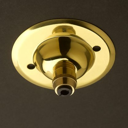 Polished Brass Cord Grip ceiling rose 75mm