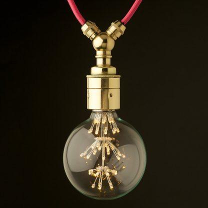 Polished brass E27 festoon lampholder