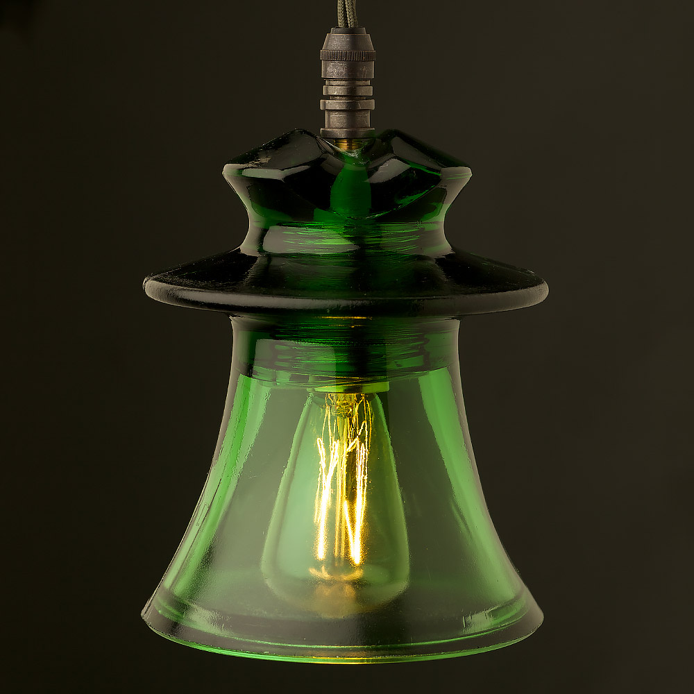 Russian Industrial Pendants: Russian Fluted Insulator Dark Green E14 Pendant