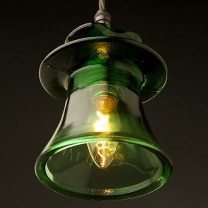 Russian Fluted Insulator Dark Green E14 pendant