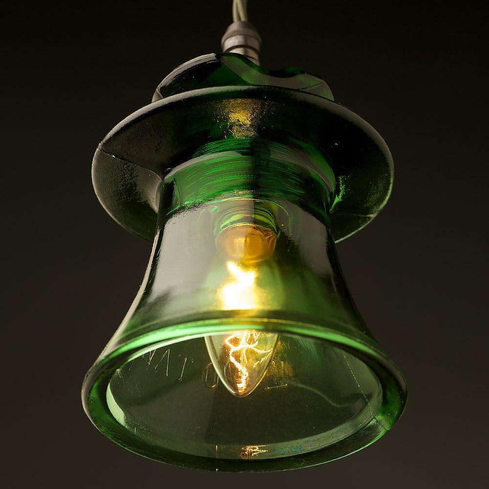 Russian Fluted Insulator Dark Green E14 Pendant