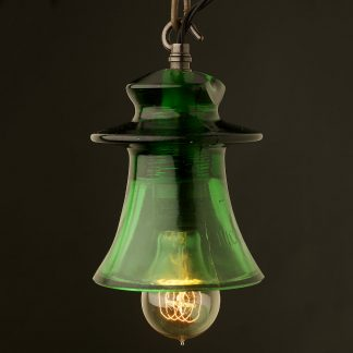 Russian Fluted dark green Insulator E27 pendant