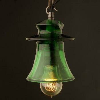 Russian-Fluted-Insulator-Dark-Green-E27-pendant-Filament-GLS