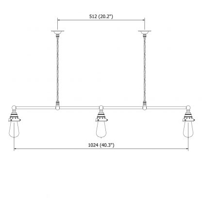 Vintage Edison Billiard Table light Cable 3 Way 1024mm