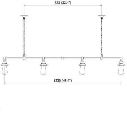 Vintage Edison Billiard Table light Cable 4 Way 1230mm