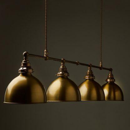Vintage Edison Long Billiard Table Light antique brass dome pendant