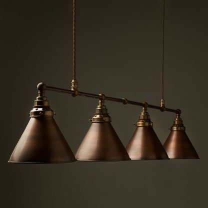 Vintage Edison Long Billiard Table Light bronze cone pendant