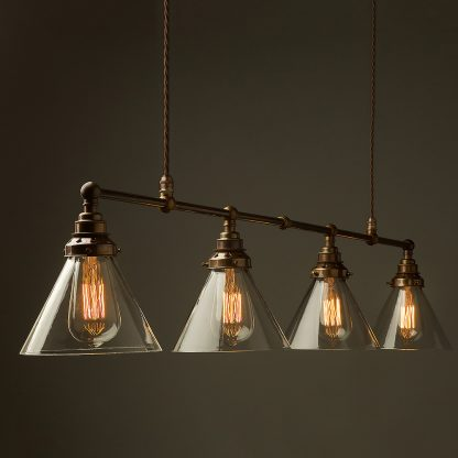 Vintage Edison Long Billiard Table Light clear glass cone pendant