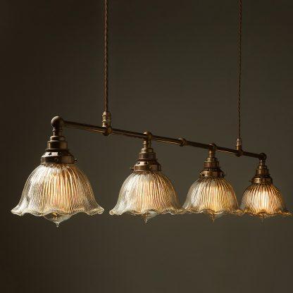 Vintage Edison Long Billiard Table Light fluted holophane dome pendant