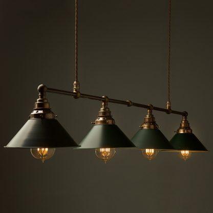 Vintage Edison Long Billiard Table Light green antiqued pendant