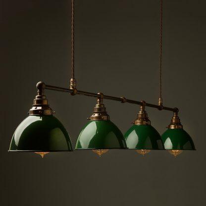Vintage Edison Long Billiard Table Light green dome pendant
