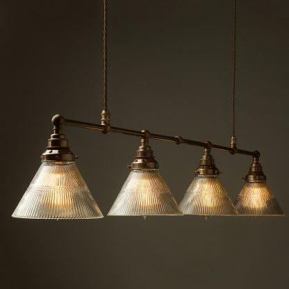 Vintage Edison Long Billiard Table Light holophane cone pendant
