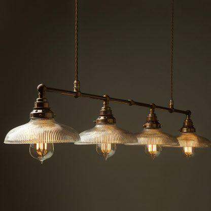 Vintage Edison Long Billiard Table Light holophane dish pendant