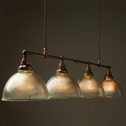Vintage Edison Long Billiard Table Light holophane dome pendant