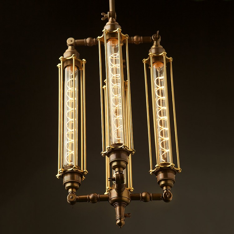 Four Cage Tube Bulb Pendant 290mm