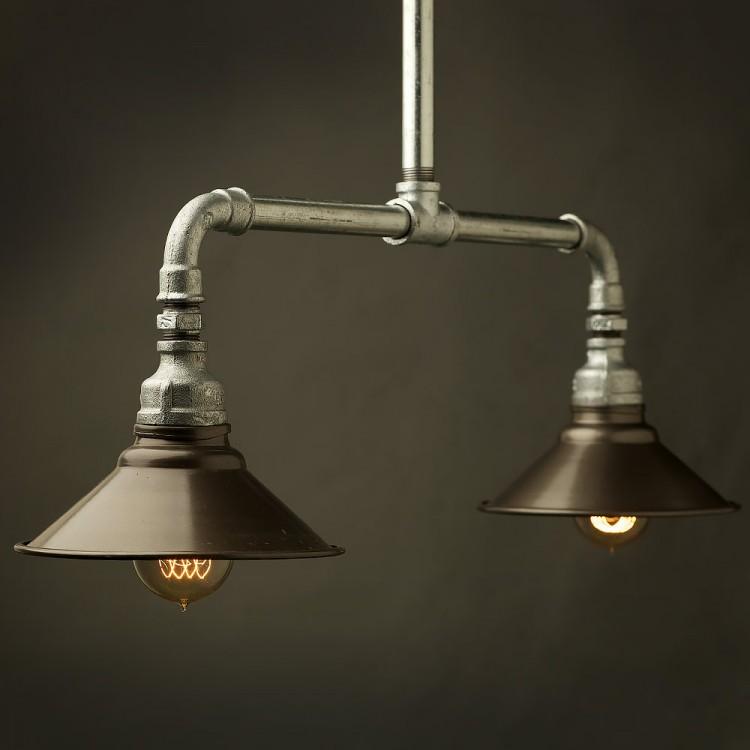 Galvanised plumbing pipe short table pendant for Plumbing light fixtures